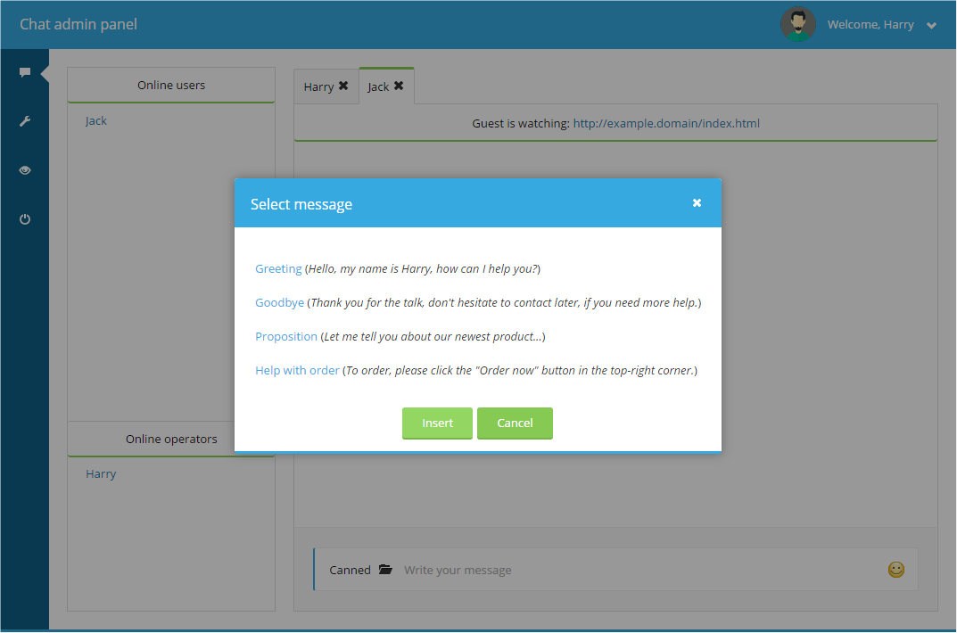 first select one of the messages by clicking on its text next press insert and the message will be placed inside your message input